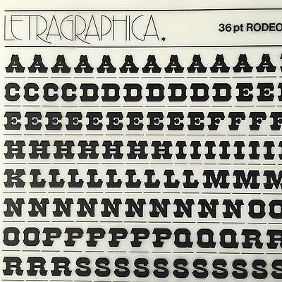 NEW & UNUSED LETRASET RUB ON TRANSFER LETTERS 36pt Rodeo