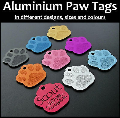 Aluminium Paw id Pet Tag with FREE Engraving for Dogs Cats  & FREE postage