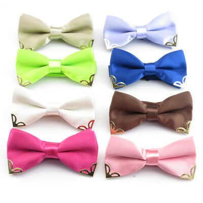 New Baby Toddler Boys Pre Tied Satin Feel Gold Corner Tip Bow Tie Dickie Bow