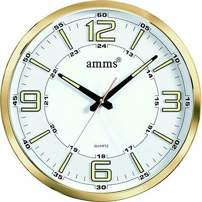 AMMS 3D Dial Non Ticking Sweeping Seconds Large Quartz Wall Clock (Gold)