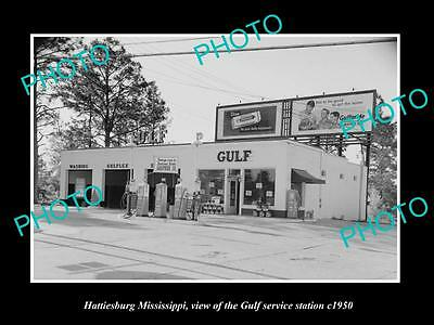 OLD LARGE HISTORIC PHOTO OF HATTIESBURG MISSISSIPPI, GULF OIL GAS STATION c1950