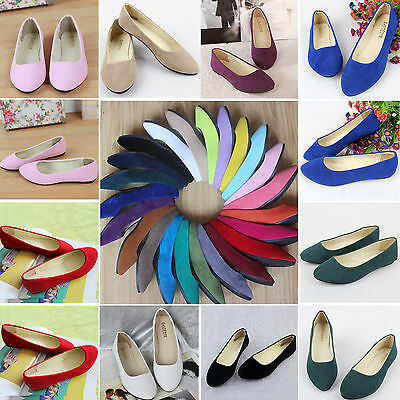 Women Suede Flats Loafers Ballerina Ballet Ladies Dolly Pumps Shoes Size 2.5-7.5