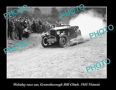 Old Large Historic Photo Of Wolseley Race Car, Greensborough Hill Climb 1935