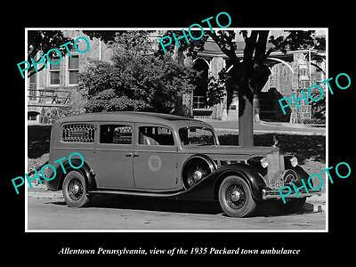 OLD LARGE HISTORIC PHOTO OF ALLENTOWN PENNSYLVANIA, THE PACKARD AMBULANCE c1935