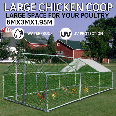 Large Chicken Coop Hen Cage Pet House Outdoor Cage Enclosure Run 6x3x1.95