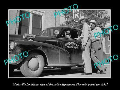 Old Large Historic Photo Of Marksville Lousiana Police Chevrolet Patrol Car 1947