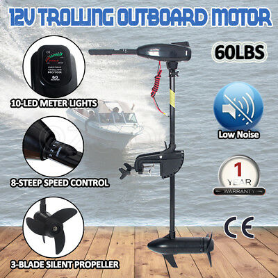 60LBS Electric Trolling Motor Outboard Engine Inflatable Boat Fishing Marine OZ