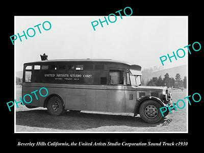 OLD LARGE HISTORIC PHOTO OF BEVERLY HILLS, THE UNITED ARTIST SOUND TRUCK c1930