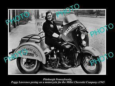 OLD LARGE HISTORIC PHOTO OF PITTSBURGH, THE MILLER CHEVROLET MOTORCYCLE c1945