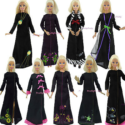 Exotic Muslim Black Robe Long Slevess Dress Outfits Gown Clothes For Barbie Doll