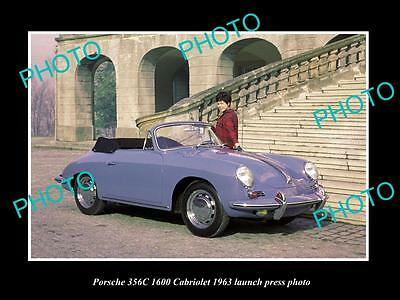 Old Large Historic Photo Of 1963 Porsche 356C 1600 Cabriolet Launch Press Photo