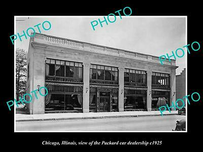 OLD LARGE HISTORIC PHOTO OF CHICAGO ILLINOIS, THE PACKARD CAR DEALERSHIP c1925
