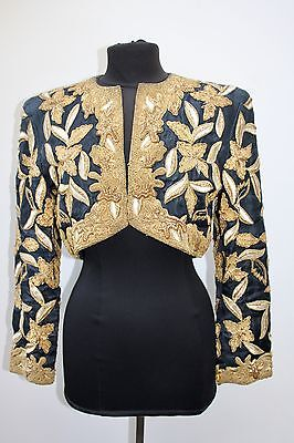 Vintage Zardozi Gold Work Embroidered Bolero, Approx Size 10 Festivals Etc