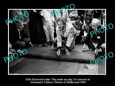 Old Large Historic Photo Of Clint Eastwood Being Honored At Graumans Theater '84
