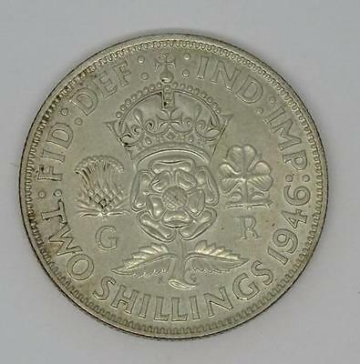 ***1946 .500  British Silver Two Shillings Florin George Vi Coin ***