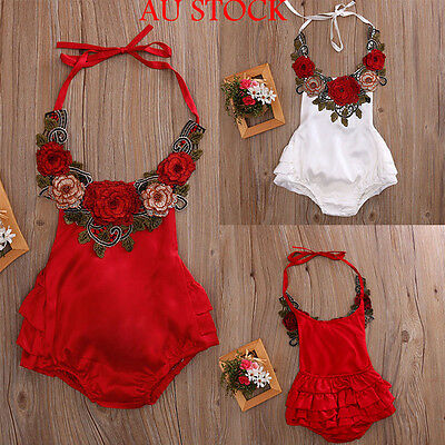 Newborn Baby Girls Summer Outfit Clothes Flower Romper Jumpsuit Bodysuit Sunsuit
