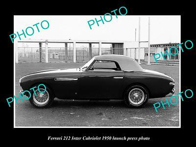 Old Large Historic Photo Of Ferrari 212 Inter Cabriolet 1950 Press Photo 2