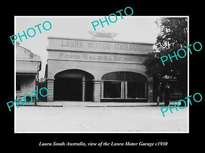 OLD LARGE HISTORIC PHOTO OF LAURA SA, THE LAURA FORD MOTOR GARAGE c1930