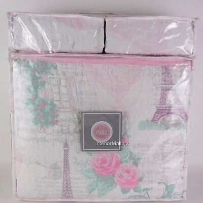 3PC Lil' Pixies EIFFEL TOWER ROSE Full Queen Quilt Set pink purple teal COTTON