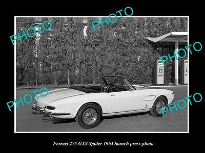 Old Large Historic Photo Of Ferrari 275 Gts Spider 1964 Launch Press Photo 1