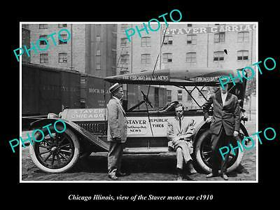 OLD LARGE HISTORIC PHOTO OF CHICAGO ILLINOIS, THE STAVER MOTOR CAR Co c1910