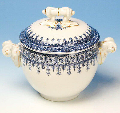 Rare 1904 Antique Large Covered Sugar Bowl Royal Worcester China W2088 Gold Blue