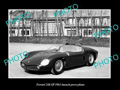 Old Large Historic Photo Of 1961 Ferrari 246 Sp Car Launch Press Photo 2