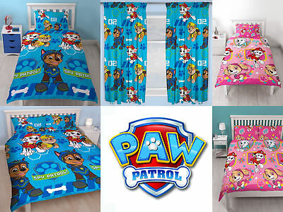 Paw Patrol kids bedroom duvet quilt cover set + choice of matching curtains Gift