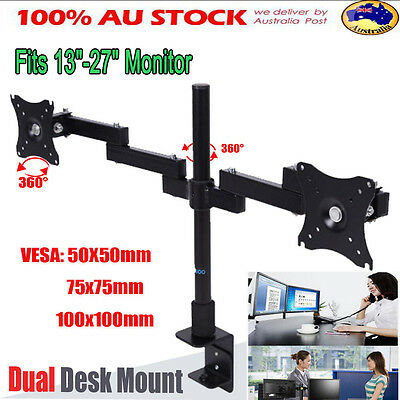 "13-27""Double Monitor Desk Bracket Arm Swivel TV PC Computer Holder Dual Mount"