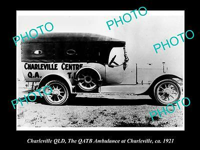 Old Large Historic Photo Of Charleville Qld, The Qatb Town Ambulance 1921