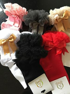 Baby  GIRLS Spanish Romany tutu socks with bows size  S/m/L  Freepostage 🇨🇮Uk