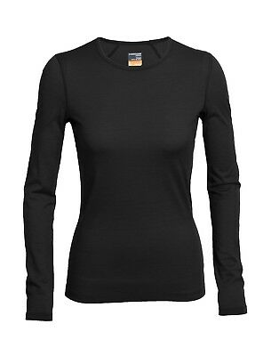Icebreaker Women's Oasis Long Sleeved Crewe Underwear/Baselayer - Black