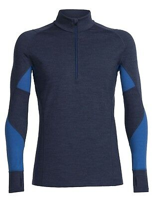 Icebreaker Men's Winter Zone Long Sleeve Half-Zip Base Layer - Fathom Heather/Pe