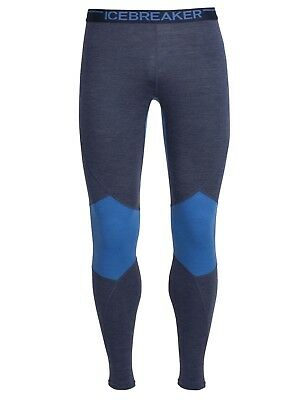 Icebreaker Men's Winter Zone Leggings Merino Base Layer- Fathom Heather/Pelorus/