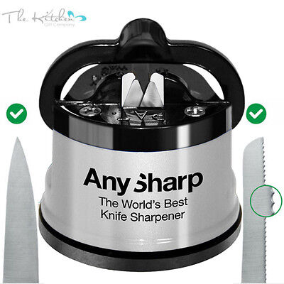 AnySharp SILVER Knife Sharpener World's Best Kitchen Gadget 100% Genuine