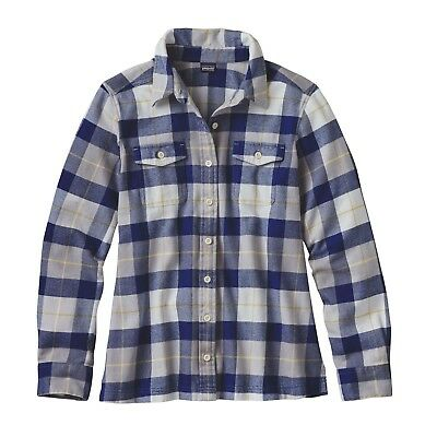 Patagonia Women's L/S Fjord Flannel Shirt - Tree Crown: Harvest Moon Blue