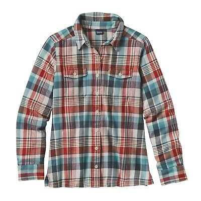 Patagonia Women's L/S Fjord Flannel Shirt - Bay Laurel: Toasted White