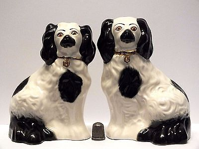 "Pair/Two Small Beswick Staffordshire Style Pottery Fireside Spaniel ""Wally"" Dogs"
