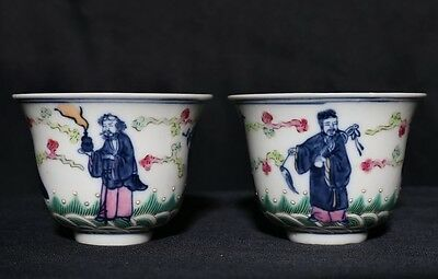 """Pair of Antique Chinese Painting """"BaXian"""" Porcelain Cups Marked DaoGuang FA390"""