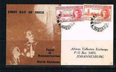 northern rhodesia 1946 victory set on illustrated first day card
