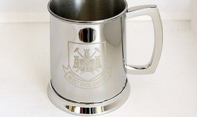 West Ham Glass Bottom Tankard - Stainless Steel Tankard - Ideal Football Gift