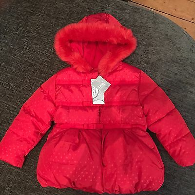 Bnwt Girls Red Hooded Jacket From Next - Size 2-3 Years
