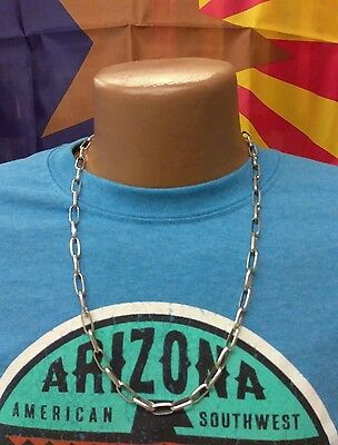 "Native American Handmade Navajo Chain Necklace - 24"" - Sterling Silver"