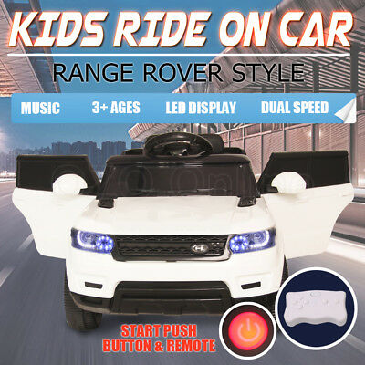 Kids Ride On Car Range Rover Style Suv Twin Motor 12V Battery Remote Music White