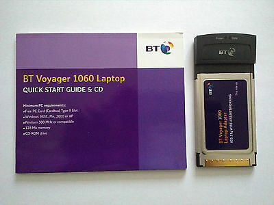 BT Voyager 1060 WiFi Wireless G PC Card PCMCIA for Laptop