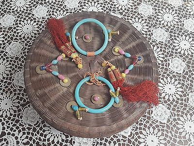 "Antique Vintage 12"" Chinese Sewing Wicker Basket Glass Rings,Beads,Tassels,Coins"