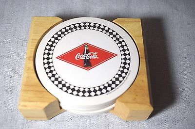 Set of 4 Coca Cola Checkered Flag Absorbent Stoneware Coasters with Wooden Caddy