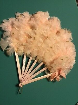 Antique Pink Blush Feathered Hand Fan