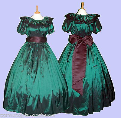 Ladies Victorian  or American Civil War 3pc costume fancy dress size 6-20 green