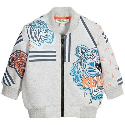 Kenzo Baby Boys Grey Tiger Zip Up Sweater 18 Months